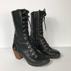 Art Oslo 502 Black Leather Lace Up Heeled Boot 39